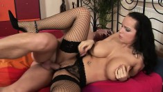Chubby brunette babe with a monstrous rack gets groped and fucked