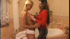 Sultry lesbians surrender their bodies to one another and find pleasure