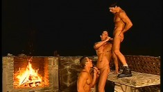 Naughty trio of dudes never want to stop their hot outdoor fucking